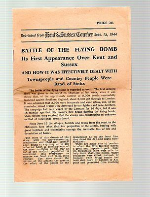 BATTLE OF THE FLYING BOMB KENT & SUSSEX COURIER SEPT. 15th    1944