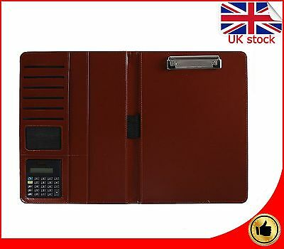 A4 Leather Executive Business Conference Portfolio Folder and Calculator Brown