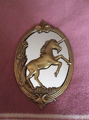 Vintage Brass Wall Plague Mirror With Unicorn
