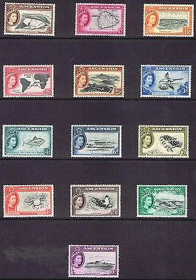 Ascension 1956 QEII Pictorials complete to 10/-  - MNH