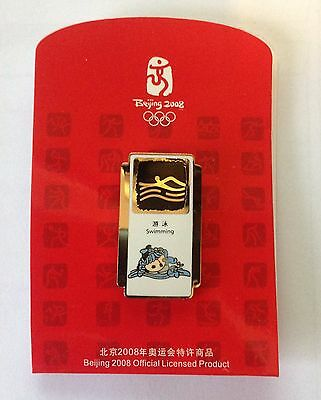 Official Beijing 2008 Swimming Mascot Pictogram Pin