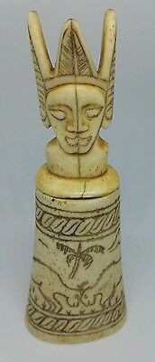 Old Unusual African Tribal Carved Bovine Bone Pot With Lid