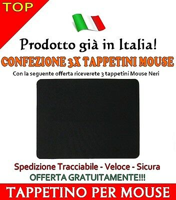 3X Pezzi Tappetini Mouse Mousepad Per Pc Computer Notebook Nero