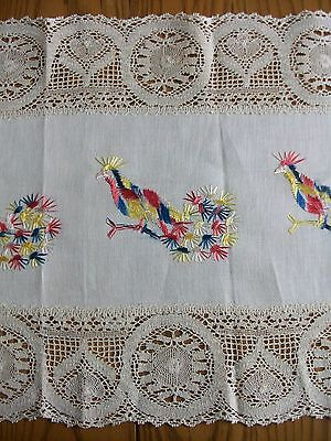 """ANTIQUE 14""""x60"""" LINEN RUNNER ~ HAND EMBROIDERED ~ PHEASANTS ~ BOBBIN CLUNY LACE"""