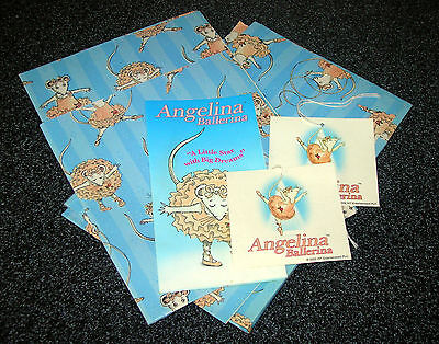 Angelina Ballerina Gift Wrap Wrapping Present Paper + 2 tags - Decoupage Craft