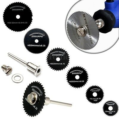 6pcs HSS Rotary Tool Circular Saw Blades Wood Cut Discs + Mandrel for Dremel