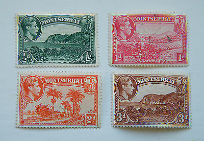 1938 - 48 Montserrat KGVI.  Four Values LMM.