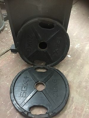 2x 20kg olympic weight plates with handles