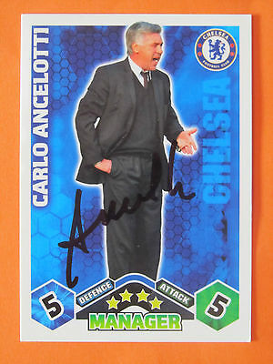 Carlo Ancelotti Signed Chelsea Match Attax Trading Card 2009/10