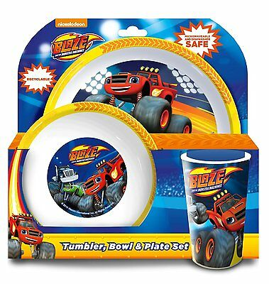 Childrens - Blaze and the Monster Machines Dinner Set - Tumbler, Bowl Plate set
