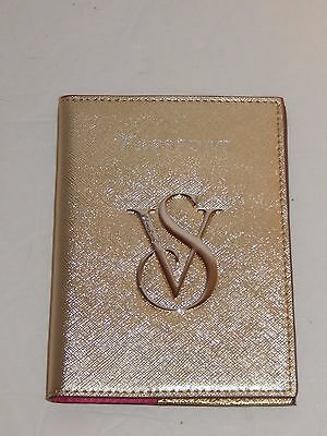 Victoria's Secret Genuine Leather Gold ~  Logo Passport Holder