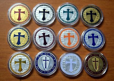 SET OF 12 SILVER & GOLD PLATED 1oz KNIGHTS TEMPLAR COINS (MASONIC) NEW IN CASES