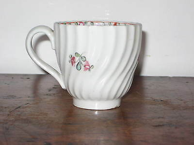 English Cup Circ 1770-90S Wrythen Decoration Painted Decoration