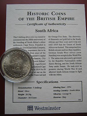 South Africa 1952 Silver Crown 5 Shillings with Westminster with COA high grade