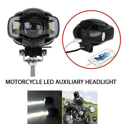 2X LED Auxiliary Spot Fog Lamps for BMW R-1200G Motorcycle Lights with USB Port