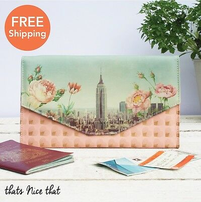 Travel Wallet ID Passport Holder Bag Holiday Documents Floral Pink Womens Gift