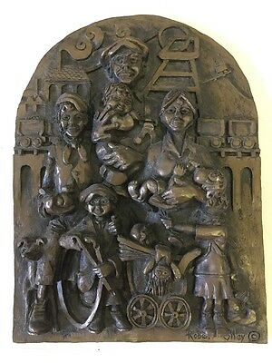 Vintage Robert Olley Wall Plaque Colliery Mining Family Approx 10x8 Inch