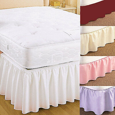 Plain universal bed valance elasticated easy fit available in 5 colours £7.50