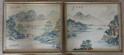 2 Vintage Antique oriental Japanese Silk painting picture, lake & mountain scene
