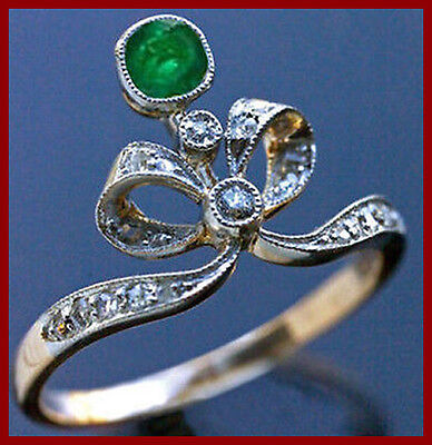 0.42 Ct Rose Cut Diamond Emerald 18K Gold Plated Antique Vintage Ring Certified