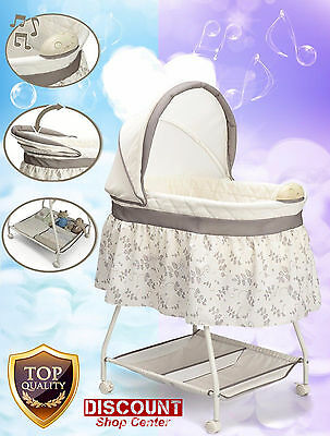 Bassinet Baby Sleeper Musical Bed Cradle Infant Newborn Nursery Crib Furniture