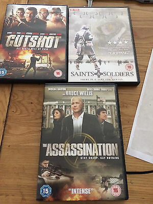 Assissination, Saints And Soldiers & Gutshot Dvds - Great Condition (Rated 15)