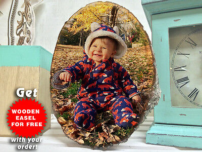 Baby MY FIRST YEAR Photo On Wooden Slice DISPLAY 12 Months WHITE Linden Wood