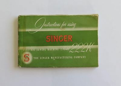 Vintage Singer 222K / 222 Featherweight Manual In Good Condition