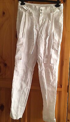 TopShop Women's Size 8 White Linen Trousers Very Good Condition
