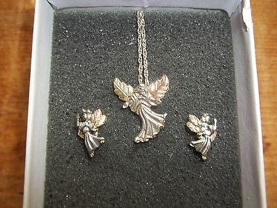 Black Hills Gold Angel Necklace & Earrings Coleman .925 Silver & 10 Kt Gold