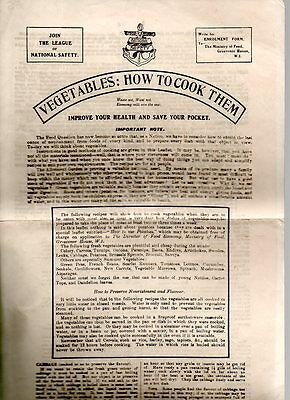 1918 League Of National Safety Vegetables:how To Cook Them 4 Sided Leaflet