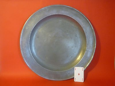 Antique pewter charger, 18 inch plate, by thomas spencer, london c1702