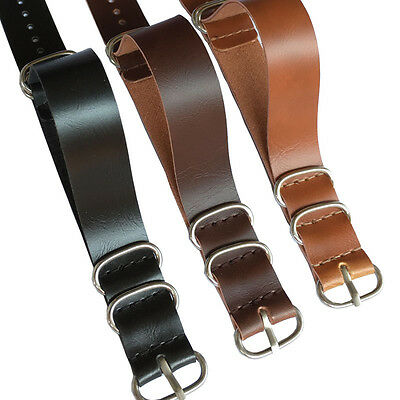 18mm 20mm 22mm Ring Buckle Black Brown Nato Leather Watch Strap Band Watchband
