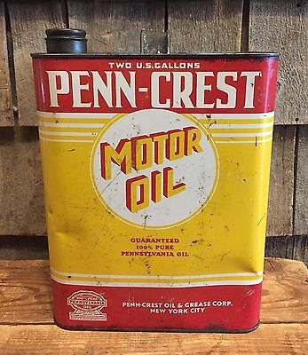 RARE Vintage PENN CREST Oil & Grease MOTOR OIL 2 Gallon Gas Service Station Can