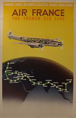 1939 AIR FRANCE THE FRENCH AIR LINE Map Poster N Gerale Gerard Alexander VINTAGE