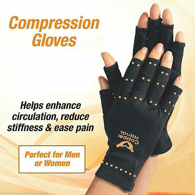 One Pair Compression Copper Hands Arthritis Gloves New Therapeutic One size Fit