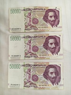 Italian Lire Out Of Circulation 50'000 Bank Notes 1992