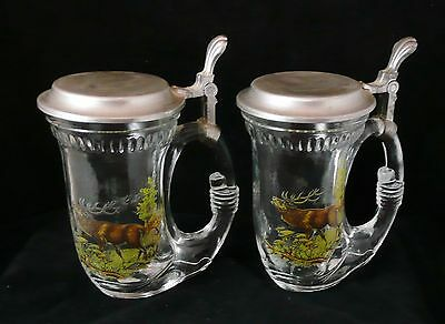 2 Glass Steins with lids with Deer / Elk / Hunting Design - Made in Germany