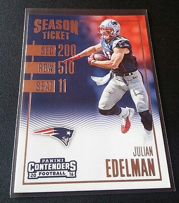 Julian Edelman #59 Panini Contenders Refractor 2016 Season Ticket Card Patriots