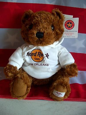 HRC Hard Rock Cafe New Orleans Sweater Hoodie Bear 2008 LE Made by Herrington