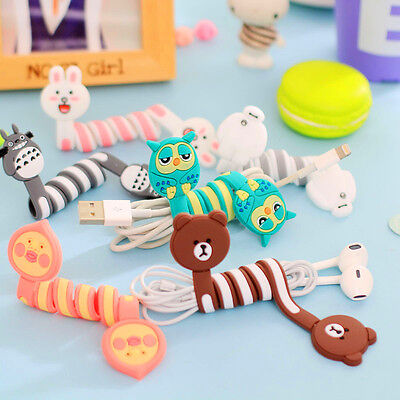 Cute Cartoon Earphone Wire Cord Cable Winder Organizer Holder For Iphone 5 Table