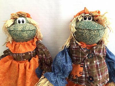 """Thanksgiving Fall Harvest Decor Pair Stuffed Frog Scarecrow Shelf Sitters 14.5""""H"""