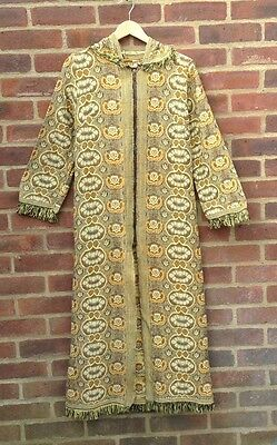 Vintage 60s Embroidered Tapestry Coat With Hood Hippy Boho Festival Chic Rare S