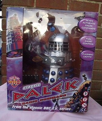 """Doctor Who 12"""" Radio Command Classic Dalek Silver/Blue * New * Sealed *"""