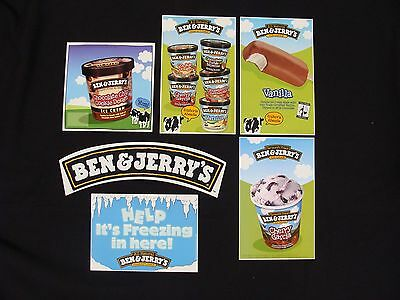 Ben and Jerry's Ice Cream Freezer / Truck Stickers Lot of 6