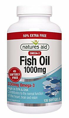 Natures Aid 1000mg Omega 3 Fish Oil 135 - Pack of Capsules