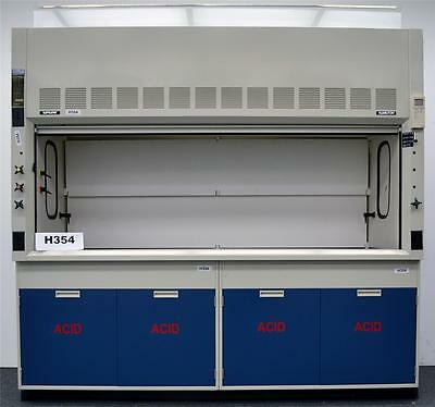 Fisher Hamilton 8'  Safeaire Fume Hood with Acid Cabinets & Epoxy Top H354..