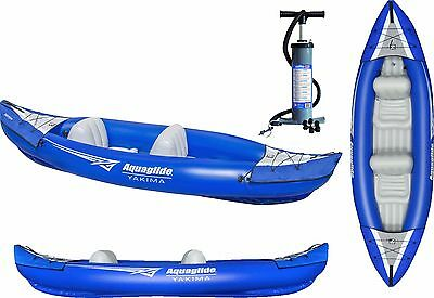 NEW 2017 Aquaglide Yakima 2 Person Two Seater Inflatable Kayak Canoe Boat + Pump