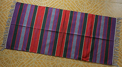 Indian Chindi Rag Rug Hand Woven Hand made Mat Recycled Cotton Striped Rag Rugs