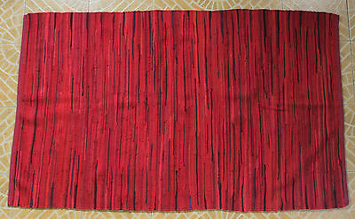 Indian Chindi Rug Hand Woven Handmade Mat Recycled Cotton Striped Rag Rug 4'x6'